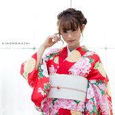 お仕立て上がり 夏着物単品「赤色 牡丹と菊花」L、TL、2L 夏物 洗える着物 大きいサイズ 【メール便不可】