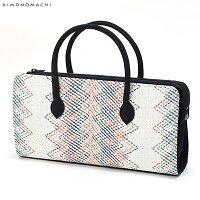 カジュアル和装バッグ「白色×カラフルジグザグ」