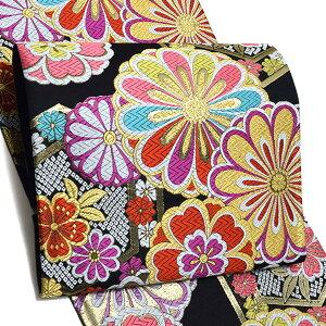 振袖 袋帯「黒色 亀甲に桜、菊