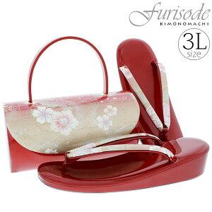 振袖 草履バッグセット「赤色×ゴールド 市松に花」3Lサイズ