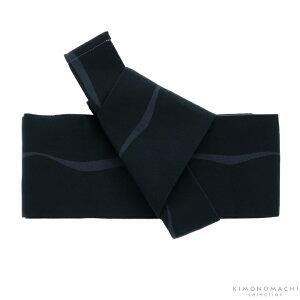 ワンタッチ 角帯「黒色 ゆらぎ縞」男性帯