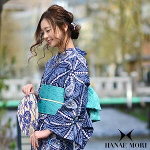 HANAE MORI 浴衣セット「藍色 絞り風蝶」