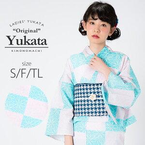 京都きもの町オリジナル 浴衣単品「ピンク×水色 スクエアにフ