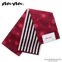 anan 半幅帯「赤紅色 水玉」小袋帯