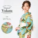 京都きもの町オリジナル 浴衣単品「青磁色野菜」S、フリー、TL、LL ...