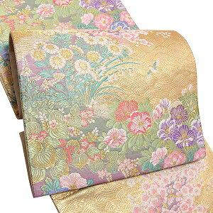 礼装 袋帯「ゴールド 波に草花