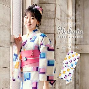 京都きもの町オリジナル 浴衣単品「パープルタイル」