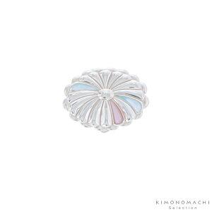 螺鈿、シルバー925使用帯留め「ブルー、ピンク系螺鈿 菊花」