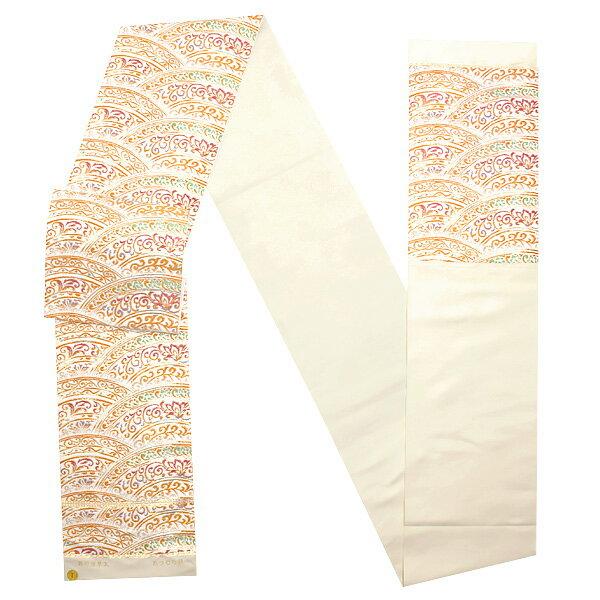 礼装 袋帯「白色 彩円唐草文」未仕立て 正絹帯 礼装帯 フォーマル <T>【メール便不可】