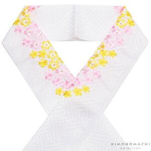 刺繍 半衿「白色 ピンク、黄色