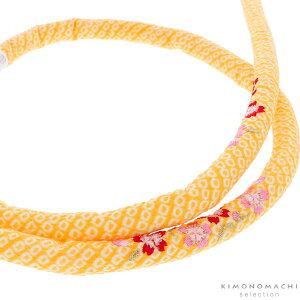 丸ぐけ 帯締め「黄色 桜の刺繍」