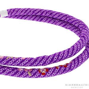 丸ぐけ 帯締め「紫色 桜の刺繍」