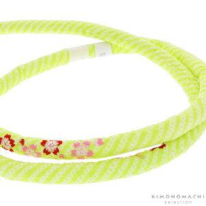 丸ぐけ 帯締め「グリーン 桜の刺繍」