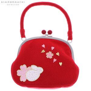 ちりめんがま口 バッグ単品「赤色 うさぎと桜」