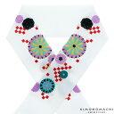 刺繍 半衿「白色 市松に菊花」刺繍半襟