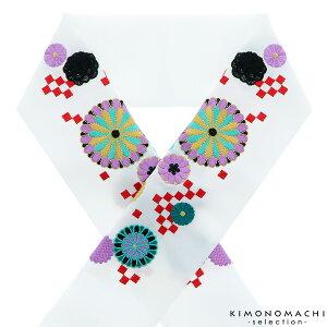 刺繍 半衿「白色 市松に菊花」