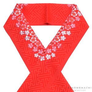 刺繍 半衿「赤色 桜の刺繍」