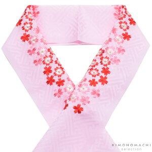刺繍 半衿「ピンク色 桜の刺繍」