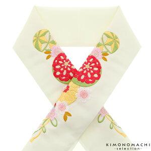 刺繍 半衿「生成り 毬、花薬玉」刺繍半襟