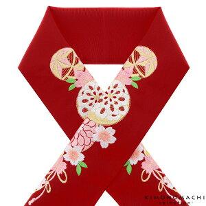 刺繍 半衿「赤色 毬、花薬玉」刺繍半襟