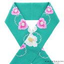 刺繍 半衿「ターコイズ 雪輪に椿」刺繍半襟