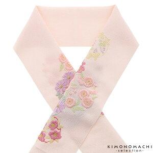 刺繍半衿「ピンク 花の丸」刺繍