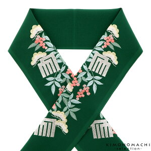 刺繍 半衿「緑色 松と南天、源