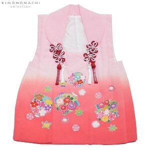 女児 被布コート単品「ピンク×サーモンぼかし 花の丸」3歳児