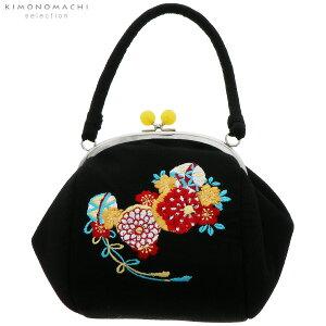 刺繍がま口 バッグ単品「黒色 毬」振袖バッグ