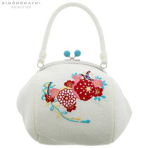 刺繍がま口 バッグ単品「白色 毬」