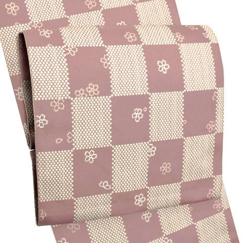 お仕立て上がり名古屋帯 八寸名古屋帯「ピンク 市松」全通柄 カジュアル帯 洒落帯 化繊帯 【メール便不可】