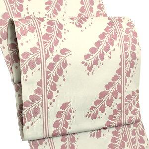 お仕立て上がり名古屋帯八寸名古屋帯「白×ピンク 藤」