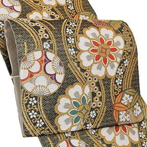 振袖 袋帯「黒色 立涌に花文」お仕立て上がり 正絹帯