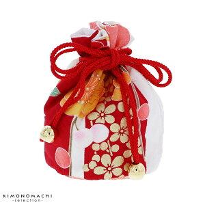巾着単品「赤×白 市松に花」