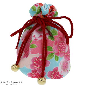 七五三 巾着単品「水色 花」桃