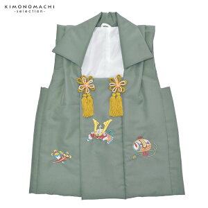 男児被布コート単品「鼠色 兜、小槌、丁子の刺繍」