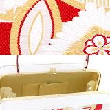 振袖草履バッグセット「白×赤市松に七宝、花菱文」Lサイズ振袖草履バッグ四枚芯成人式、前撮り、結婚式の振袖に【メール便不可】
