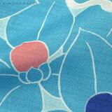 作り帯浴衣セット「そら色夏椿」S、F、TL、LLカリキュロポリエステル浴衣女性浴衣【メール便不可】