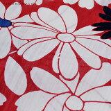 作り帯浴衣セット「赤マーガレット」S、F、TL、LL女性浴衣変わり織りレディース浴衣【メール便不可】