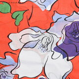 作り帯浴衣セット「オレンジレッド薔薇」S、F、TL、LL女性浴衣変わり織りレディース浴衣【メール便不可】