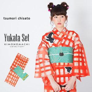 浴衣セット「赤格子 猫」tsu