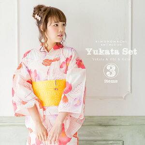 女性 浴衣セット「ピンク ボーダーにお花」浴衣3点セット