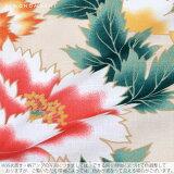 京都きもの町オリジナル浴衣単品「クリームベージュ芍薬」3L、4L綿浴衣大きいサイズレトロ【メール便不可】