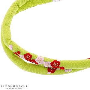 刺繍 帯締め「抹茶色 梅の花刺