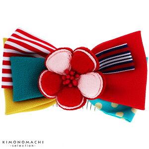リボン 髪飾り「レッド お花と