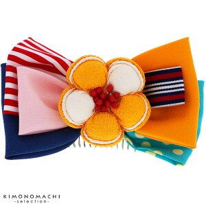 リボン髪飾り「イエロー お花とリボン」リボン髪飾り 卒業式の袴に 髪飾り リボンコーム お花髪飾り
