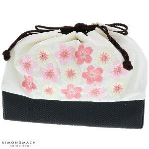 刺繍 巾着「白色 桜刺繍」袴巾