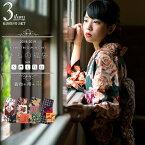 【袷】きもの福袋3点セット 袷着物+京袋帯2つ