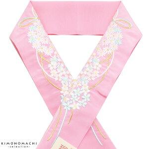 振袖 半衿「桃色 花薬玉」刺繍