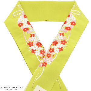 振袖 半衿「黄緑色 花薬玉」刺